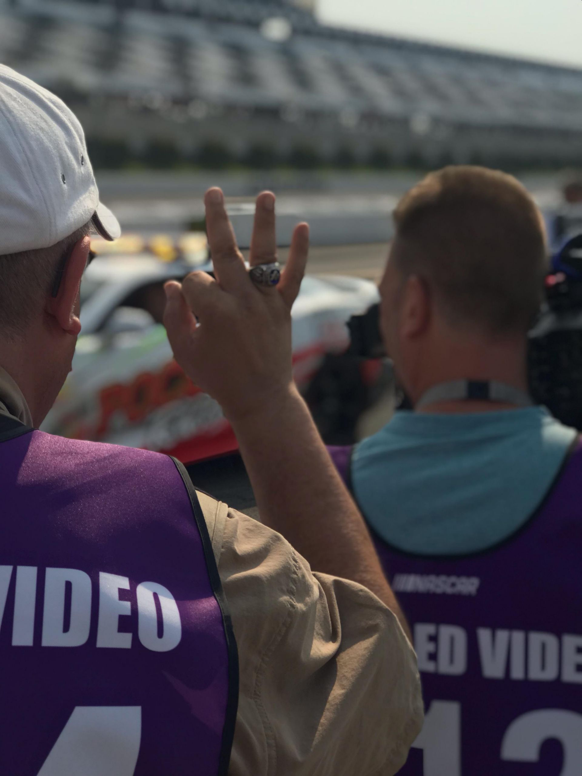 Photo of Kevin and John shooting a commercial spot a Pocono Raceway