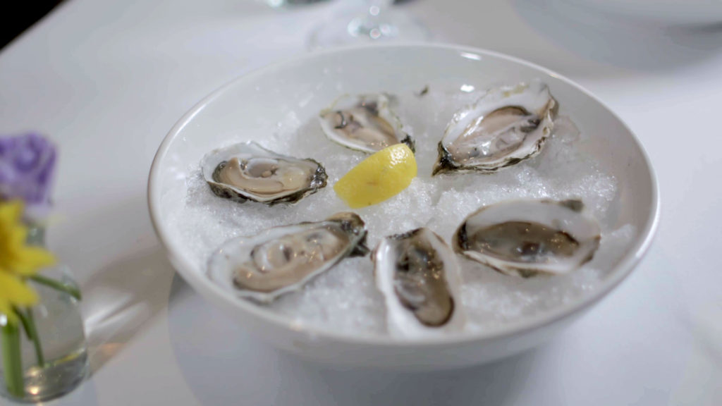 Food styling shot oysters