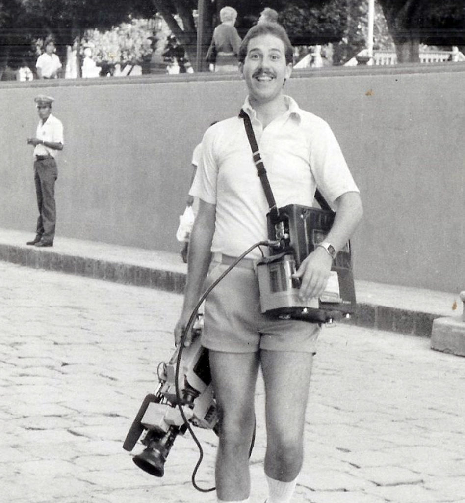 Kevin with 2 piece camcorder unit.