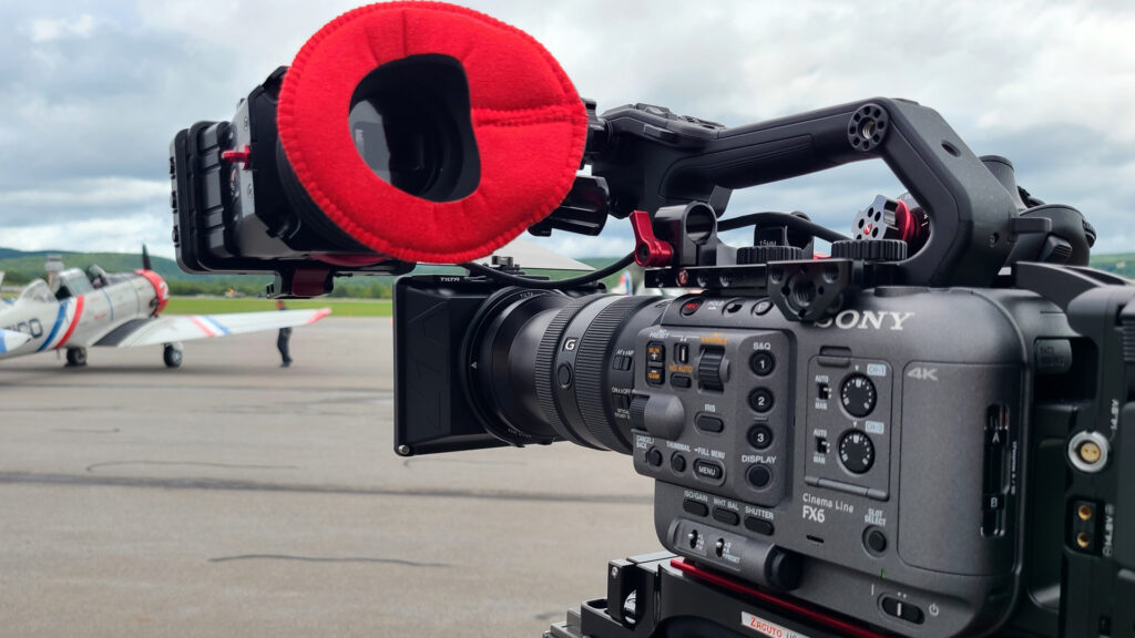 3/4 view of the Sony FX/6 with Zacuto Z-finder